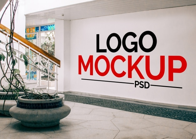Wall mockup for logo Premium Psd