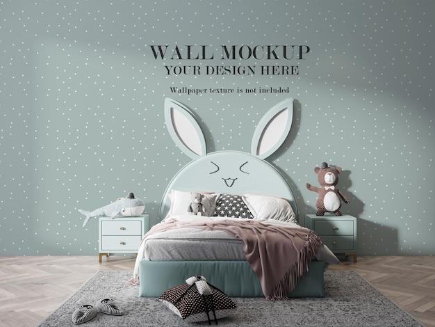 Макет стены в детской спальне Premium Psd