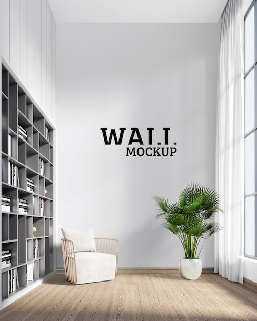 Wall mockup - sitting space to relax and read Premium Psd