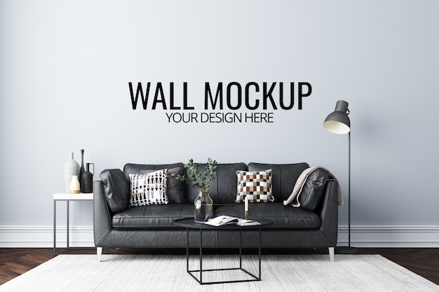 Wall mockup in white interior with sofa and decoration Premium Psd