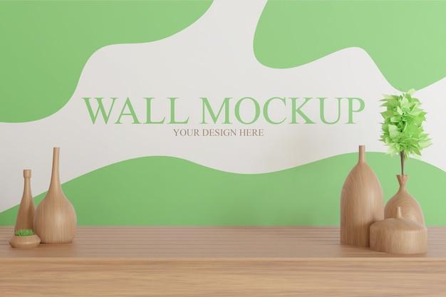 테이블에 나무 꽃병 장식으로 벽 모형 프리미엄 PSD 파일