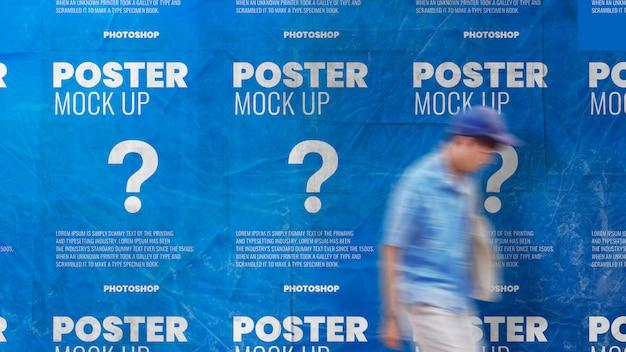 Обои постер плиточный мятый и нуля макет реалистично Premium Psd