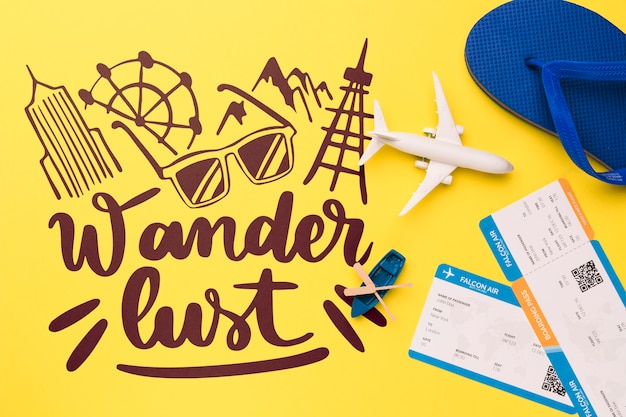 Wander lust lettering with boarding pass, airplane, canoe and flip flop Free Psd