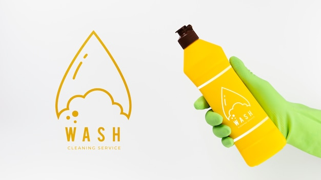 Wash cleaning service and detergent container Free Psd