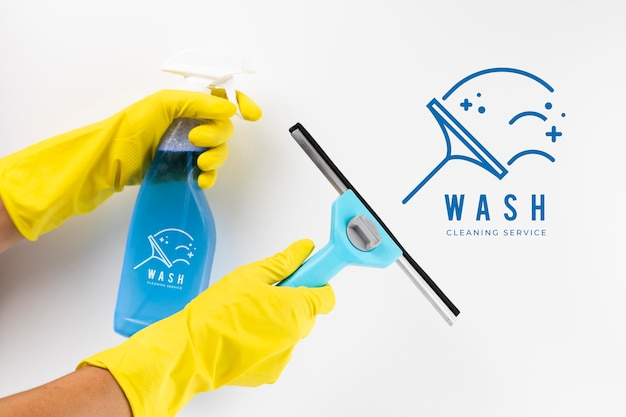 Wash cleaning service and protection gloves Free Psd