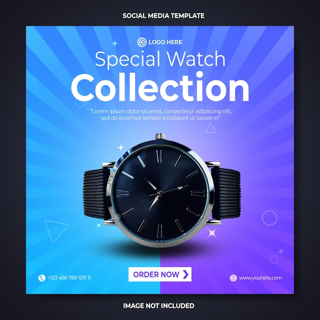 Watch promotion social media banner template Premium Psd