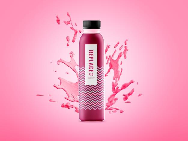 Water bottle minimal splash advertising mockup Premium Psd