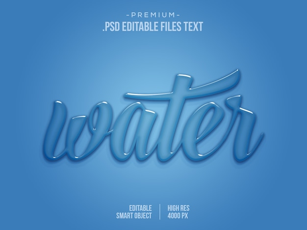 Water editable text effect , water 3d text effect, blue liquid drop water aqua text effect Premium Psd