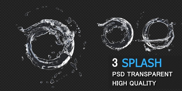 Water splash circle round frame in 3d rendering isolated Premium Psd
