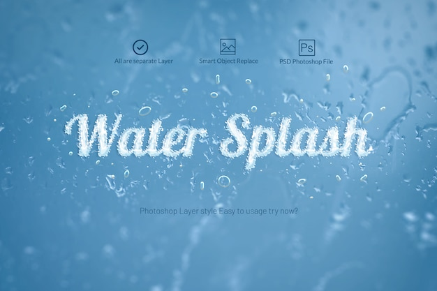Water splash photoshop layer style Premium Psd