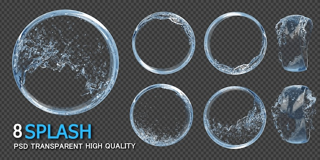 Water splash round frame transparent Premium Psd