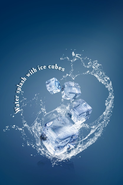 Water splash with ice cubes isolated over a blue background and copy space Premium Psd