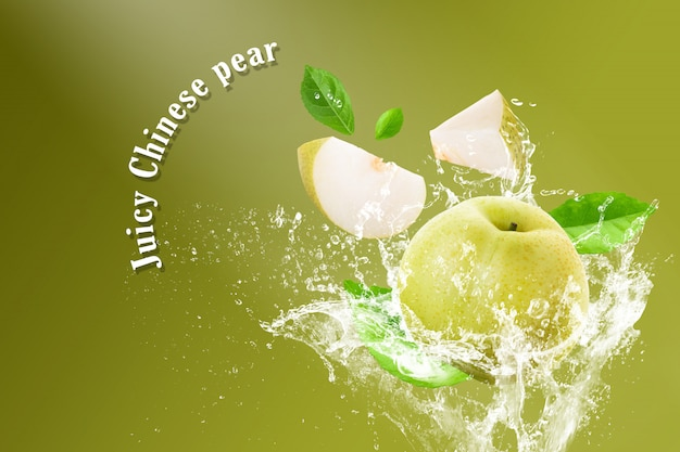 Water splashing on fresh chinese pear and sliced isolated on a green background Premium Psd