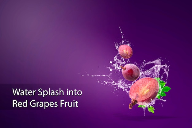 Water splashing on fresh red grapes over red. Premium Psd