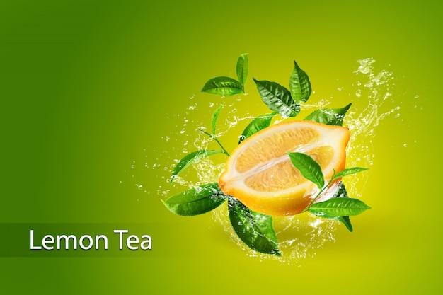 Брызги воды на листьях лимона и зеленого чая, изолированных на зеленом фоне Premium Psd