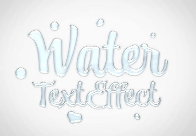 Water text effect mockup Premium Psd