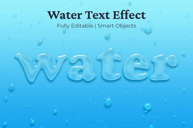 Water text effect Premium Psd