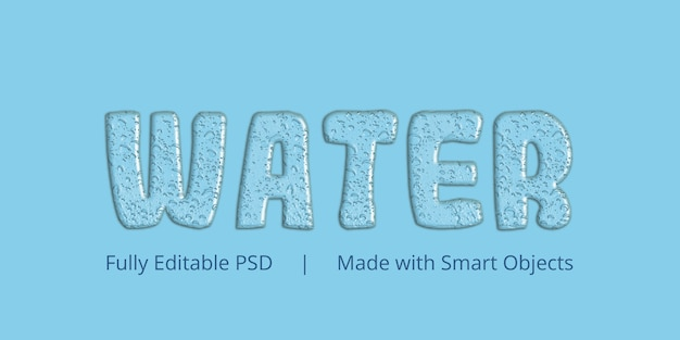 Water text style effect Premium Psd
