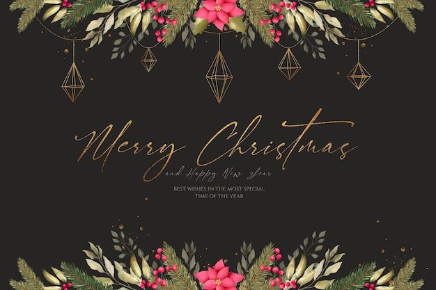 아름 다운 장식으로 수채화 크리스마스 배경 무료 PSD 파일
