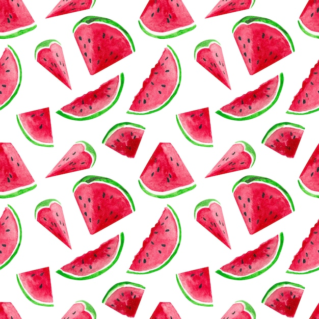 Watercolor endless pattern with watermelons Premium Psd
