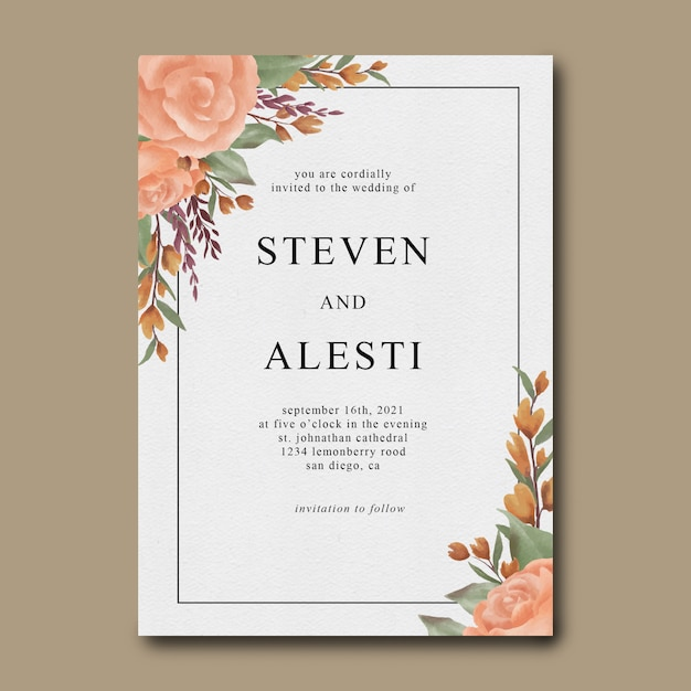 Watercolor floral wedding invitation template Premium Psd