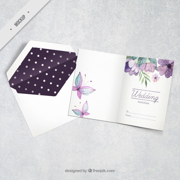 Watercolor Floral Wedding Invitation With Butterflies Psd