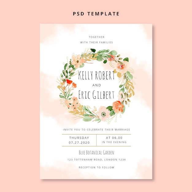 Watercolor floral wreath wedding invitation card Premium Psd