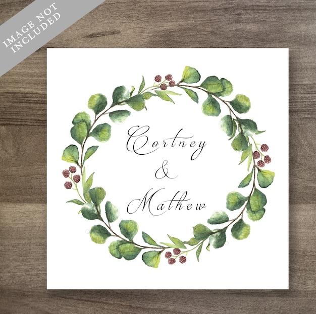 Watercolor floral wreath wedding invitation Premium Psd