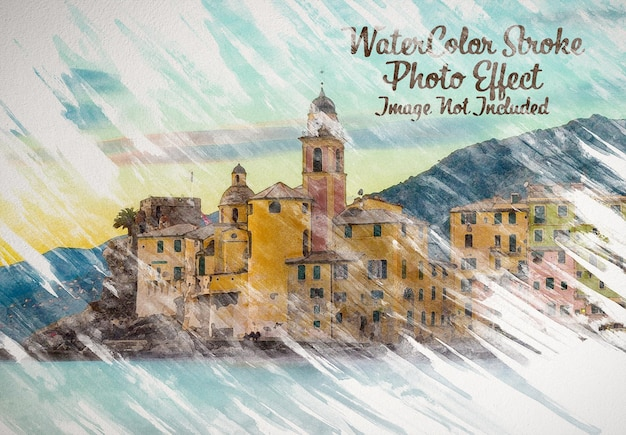 Watercolor painting photo effect mockup Premium Psd