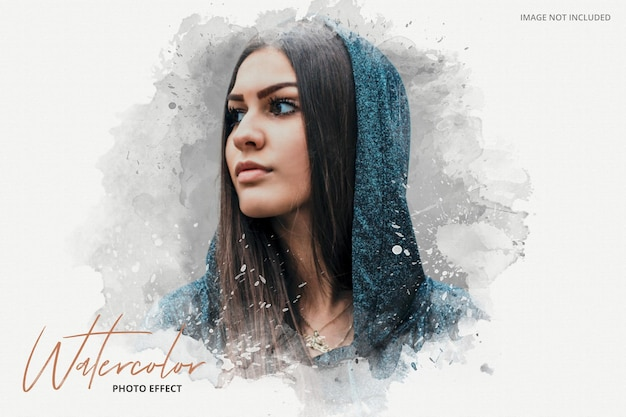 Watercolor photo effect template