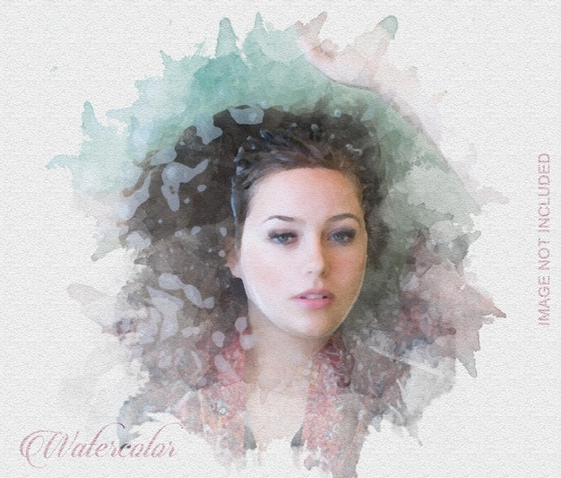 Watercolor photo effects on textured paper Premium Psd