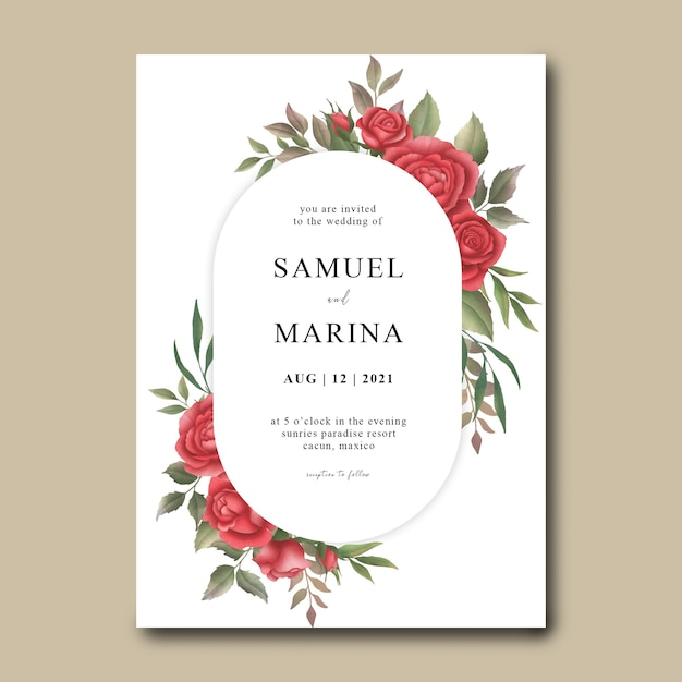 Watercolor red rose flower wedding invitation template Premium Psd