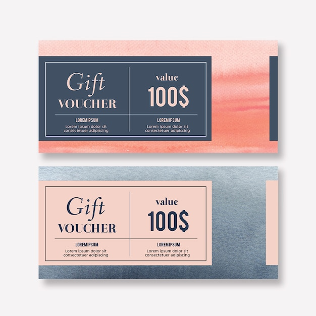 Watercolor splash brush voucher template Free Psd