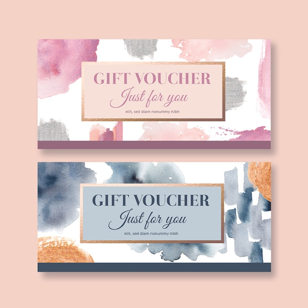 Watercolor splash brush voucher template Free Psd