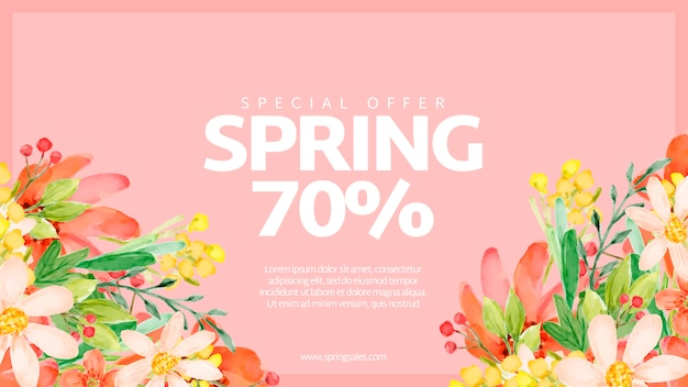 Watercolor spring sale banner template Free Psd