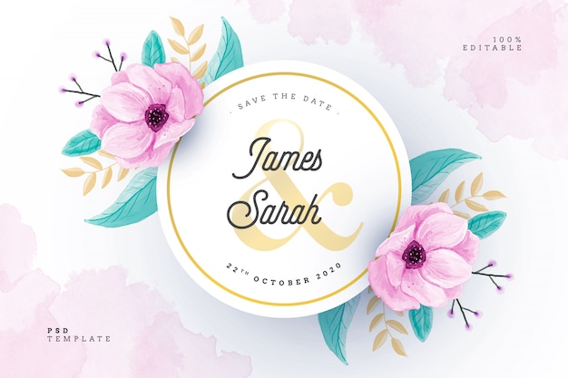 Watercolor wedding card with floral frame Free Psd