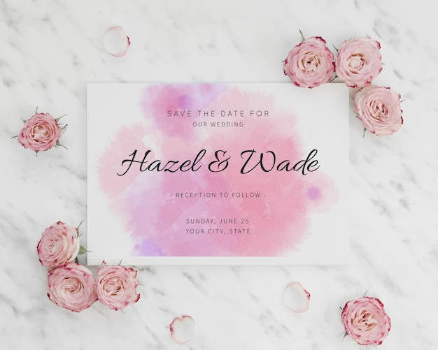 Watercolour save the date invitation and roses Free Psd