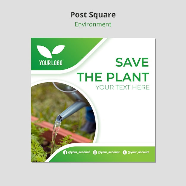 Watering the plants post square template Free Psd