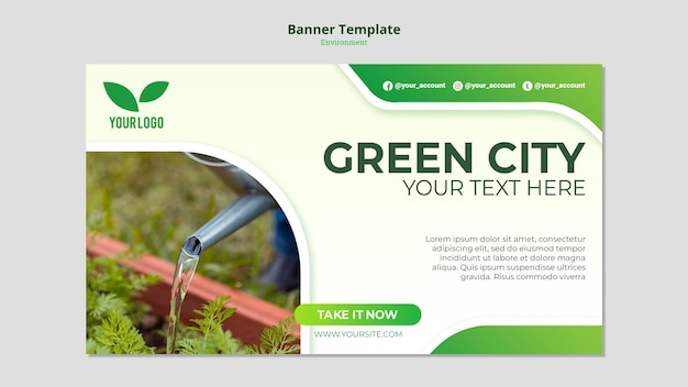 Watering the seedlings banner template Free Psd