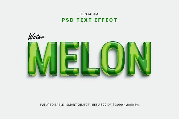 Шаблон текстового эффекта арбуз 3d Premium Psd