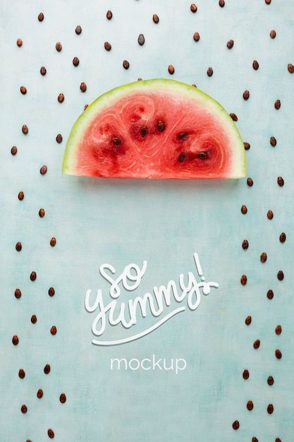 Watermelon slice and seeds rain mock-up Free Psd