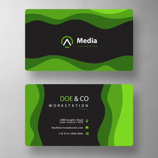 Wave shape visit card Free Psd
