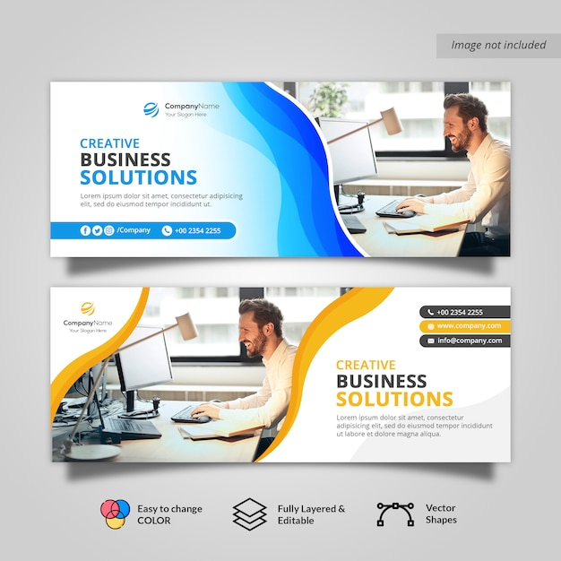 Waves corporate business facebook cover banner Premium Psd