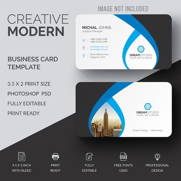 Wavy business card mockup Premium Psd