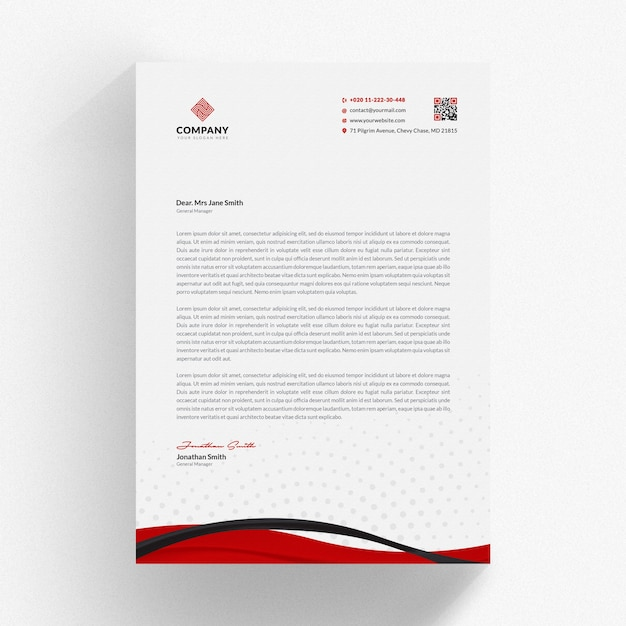 wavy letterhead mockup psd file premium download