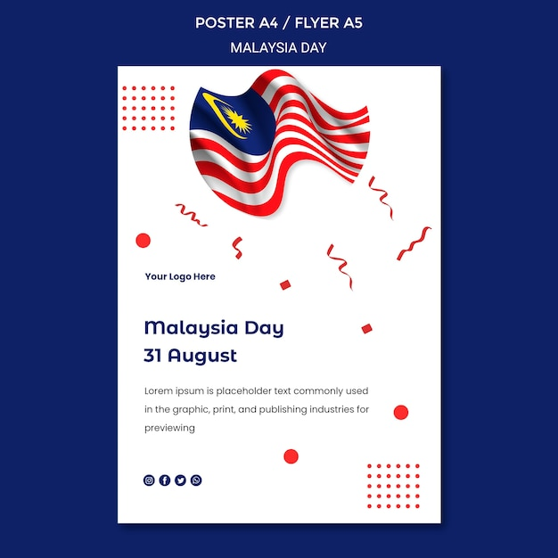 물결 모양의 말레이시아 국기 독립 기념일 포스터 템플릿 무료 PSD 파일
