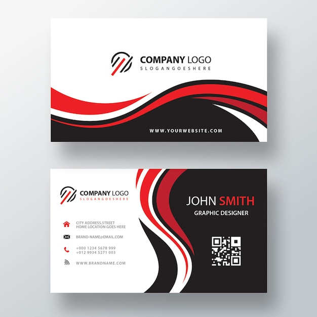 Wavy red and black corporate card Free Psd
