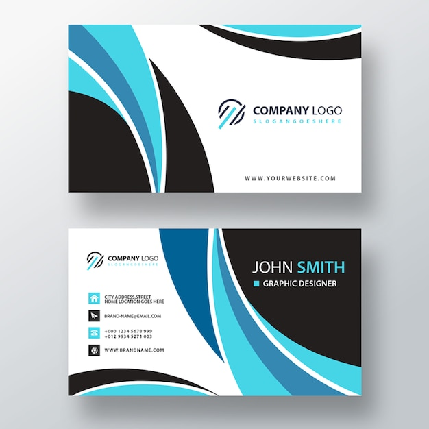 Wavy shape business card Free Psd