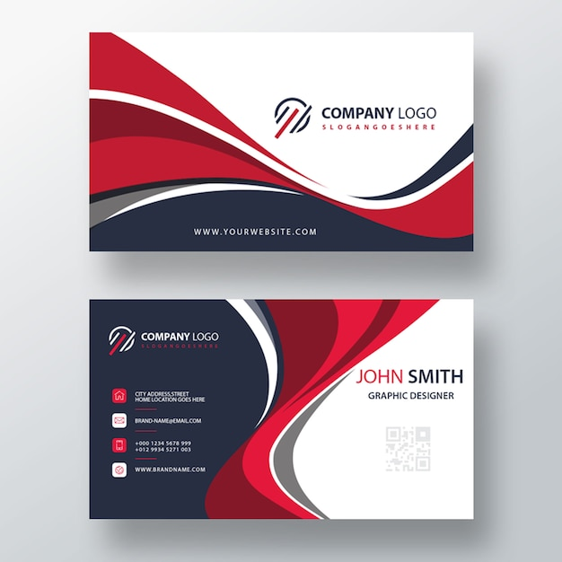 Wavy style business card template design Free Psd
