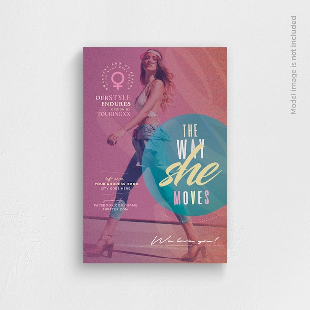 The way she moves flyer template Premium Psd